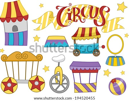 Illustration Featuring Different Elements Commonly Associated with Circuses