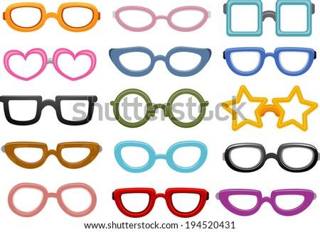 Illustration Featuring Different Eyeglasses Designs - stock vector