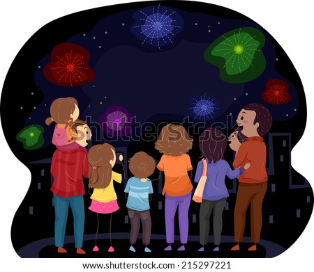Illustration Featuring Families Watching a Fireworks Show Together - stock vector