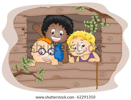 Illustration Featuring Kids in a Tree house - Vector - stock vector