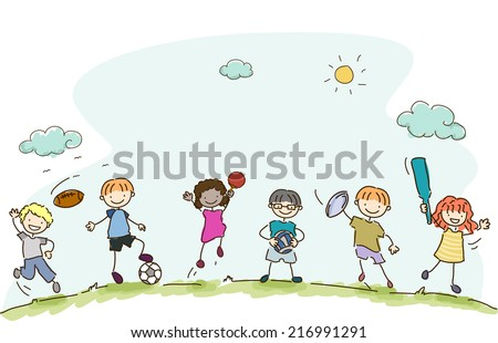 Illustration Featuring Kids Playing Different Sports - stock vector