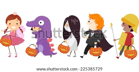 Illustration Featuring Kids Wearing Different Halloween Costumes - stock vector