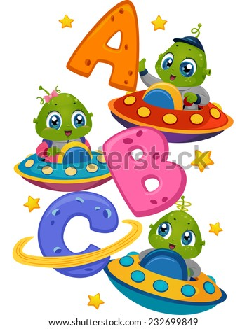 Illustration Featuring Little Aliens in Spaceships Driving Around the Letters of the Alphabet - stock vector
