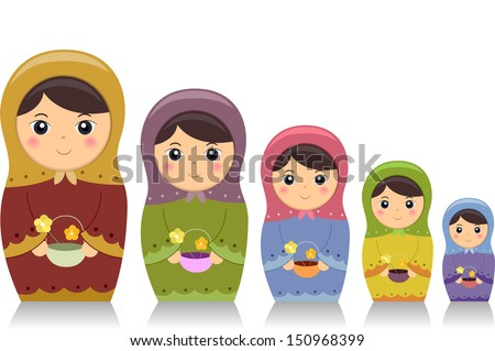 Illustration Featuring Matryoshka Dolls Carrying Baskets of Flowers