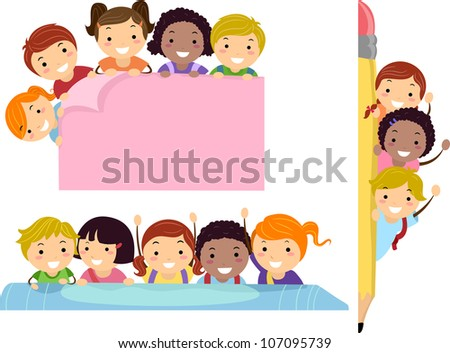 Illustration Featuring School Children Beaming Happily on Education Borders - stock vector