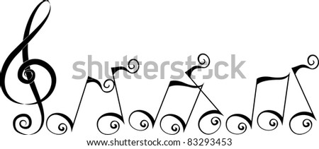 Illustration Featuring Silhouettes of Music Notes - stock vector
