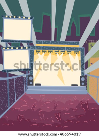Illustration Featuring the Audience of a Concert Doing Hand Signs - stock vector