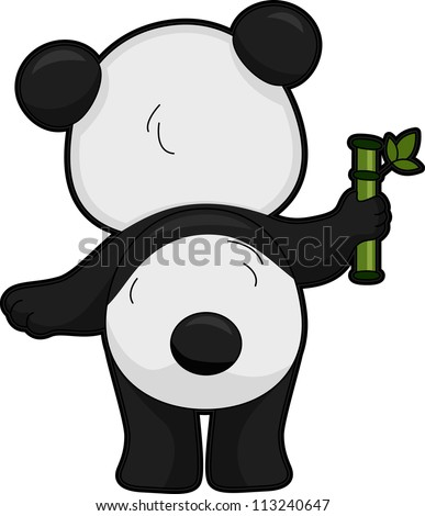 Illustration Featuring the Back View of a Giant Panda