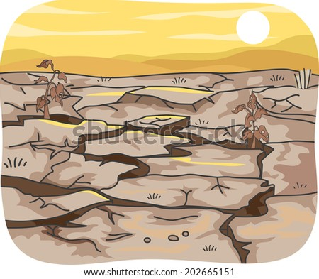 Illustration Featuring the Effects of Drought on an Expanse of Land - stock vector