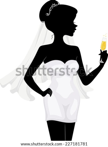Illustration Featuring the Silhouette of a Bachelorette Holding a Glass of Wine - stock vector