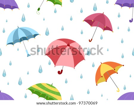 Illustration Featuring Umbrellas