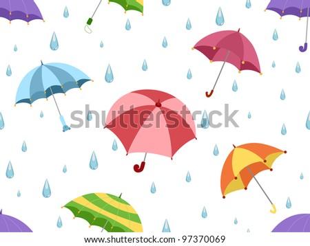 Illustration Featuring Umbrellas - stock vector