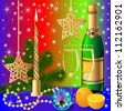 illustration festive background with candle by ball by orange - stock photo