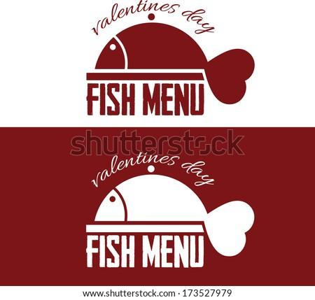 illustration fish menu for Valentine's Day - stock vector