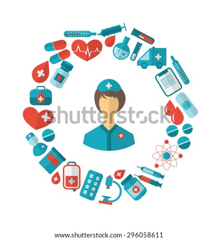 Illustration Flat Icon of Nurse and Medical Equipment and Objects - Vector