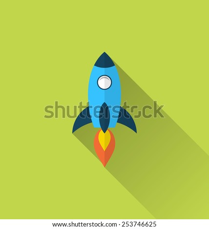 Illustration flat icon of rocket with long shadow style - vector - stock vector