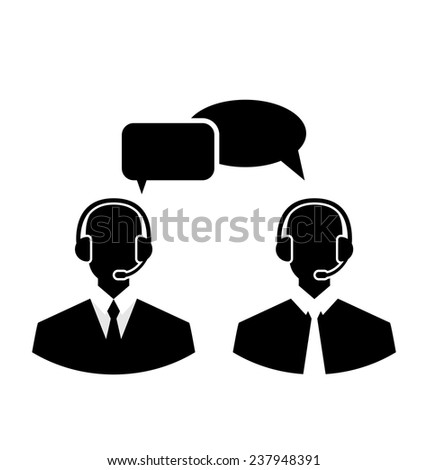 Illustration flat icons of call center silhouette mans operators wearing headsets, people isolated on white background - vector - stock vector