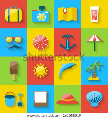 Illustration flat icons of holiday journey, summer pictogram, sea leisure, colorful simple icons with long shadow - vector - stock vector