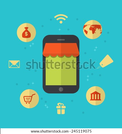 Illustration flat icons of on-line shopping and online payment - vector - stock vector