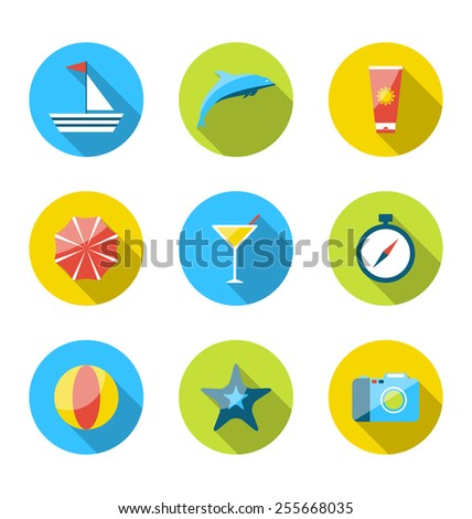 Illustration flat modern set icons of traveling, planning summer vacation, tourism and journey objects - vector - stock vector