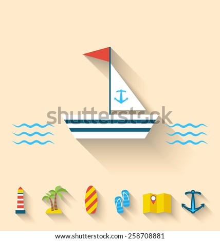 Illustration flat set icons of cruise holidays and journey vacation, simple style with long shadow - vector - stock vector
