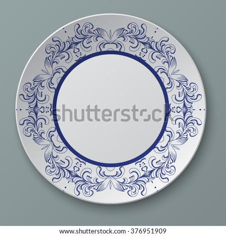 Illustration floral ornament plate isolated