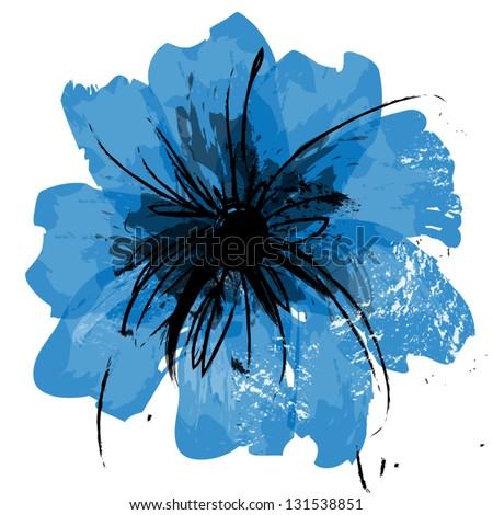 Illustration flower canvas - stock vector