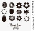Illustration flowers icons, spring and valentines day, vector illustration - stock photo