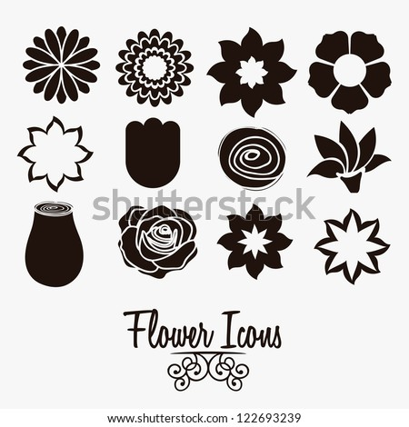 Illustration flowers icons, spring and valentines day, vector illustration - stock vector