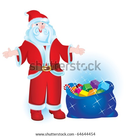 Illustration for Christmas and New Year. Santa Claus. Bag with gifts. Vector