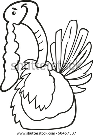 Illustration Coloring Book Funny Turkey Stock Vector 68457337 ...