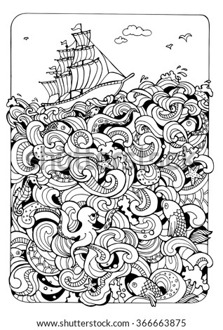 illustration for coloring; sea and the boat - stock vector