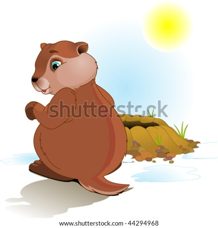 Illustration for Groundhog Day. Groundhog looking at his shadow. - stock vector
