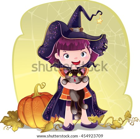 Illustration for Halloween with a little cute witch, cat and pumpkin.  Trick or treat A cute little girl is dressed in a witch costume for Halloween.