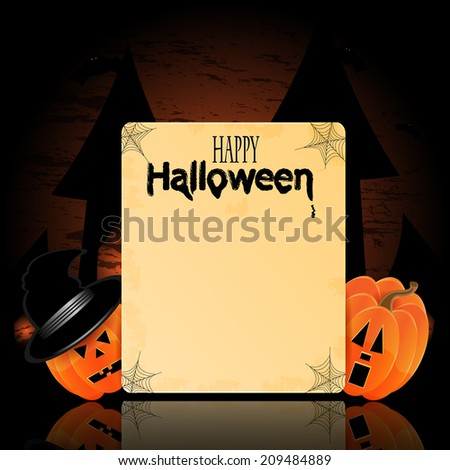 Illustration for Halloween with pumpkins  and place for your text - stock vector