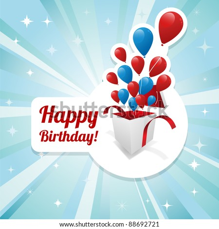 Illustration for happy birthday card with balloons. Vector. - stock vector