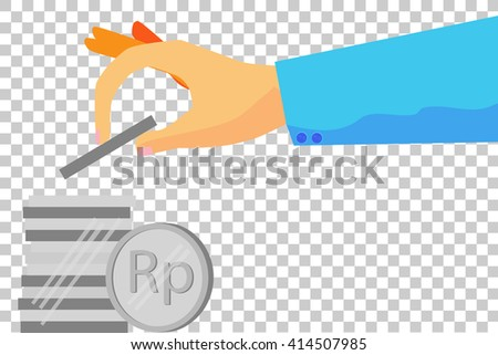 illustration for man invest his money (silver rupiah coin)  - stock vector