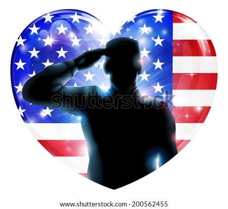 Illustration for 4th July Independence Day or veterans day of a soldier saluting in front of American flag shaped as a heart - stock vector