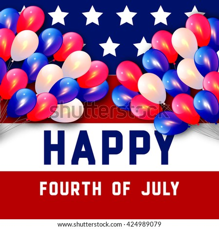 Illustration for 4th of July Independence Day in American Flag colors on stars and balloon background. Vector illustration