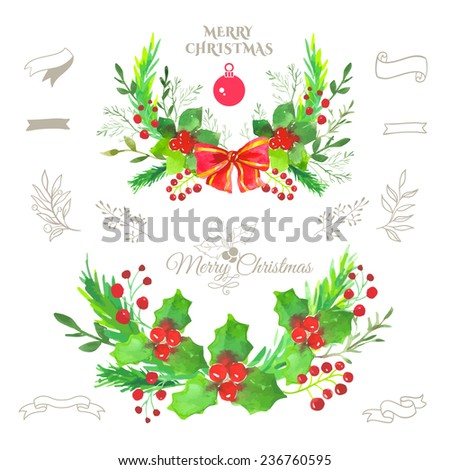 Illustration for the New Year holiday. Watercolor decoration for your design. Set elements for Merry Christmas and happy new year. Christmas Wreath - stock vector