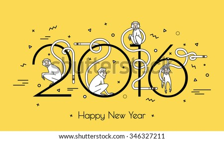 Illustration for the new year 2016 with monkeys. Style simple lines of modern hipster. A vivid illustration for a card or print. - stock vector