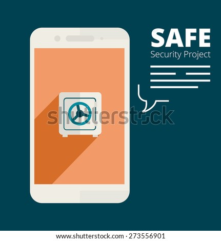 Illustration for website and mobile application. Flat design. Vector. Editable. Security and smartphone. - stock vector