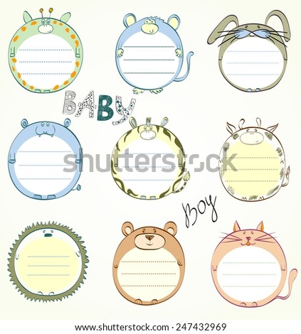 Illustration frames in the form of animals and Design Elements. - stock vector