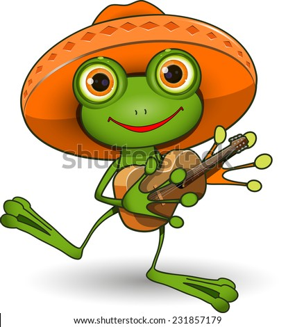 Illustration frog in a sombrero with a guitar - stock vector