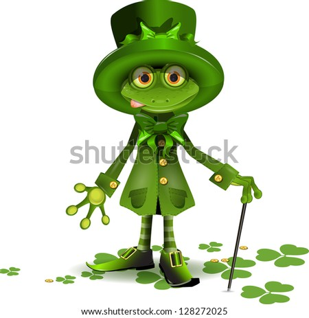 Illustration frog in a suit of Santa Patrick - stock vector