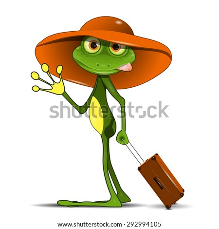 Illustration Frog with a Suitcase in a Hat - stock vector
