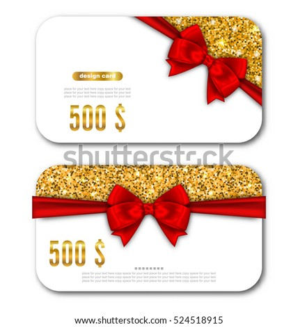 Illustration Gift Card Template with Golden Dust Texture and Black Bow Ribbon. Design for Gift Voucher, Coupon, Invitation, Certificate, Diploma, Ticket Etc. - Vector