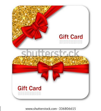 Illustration Gift Cards with Red Bow Ribbon and Golden Sparkles. Template for Greeting Cards, Invitations, Voucher Design - Vector - stock vector
