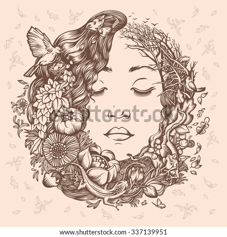 Illustration Girl as Nature. Beginning of life. The cycle of nature. - stock vector