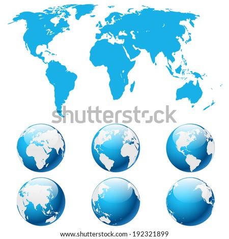 Illustration globe Earth isolated on white background. Vector. eps 10. - stock vector